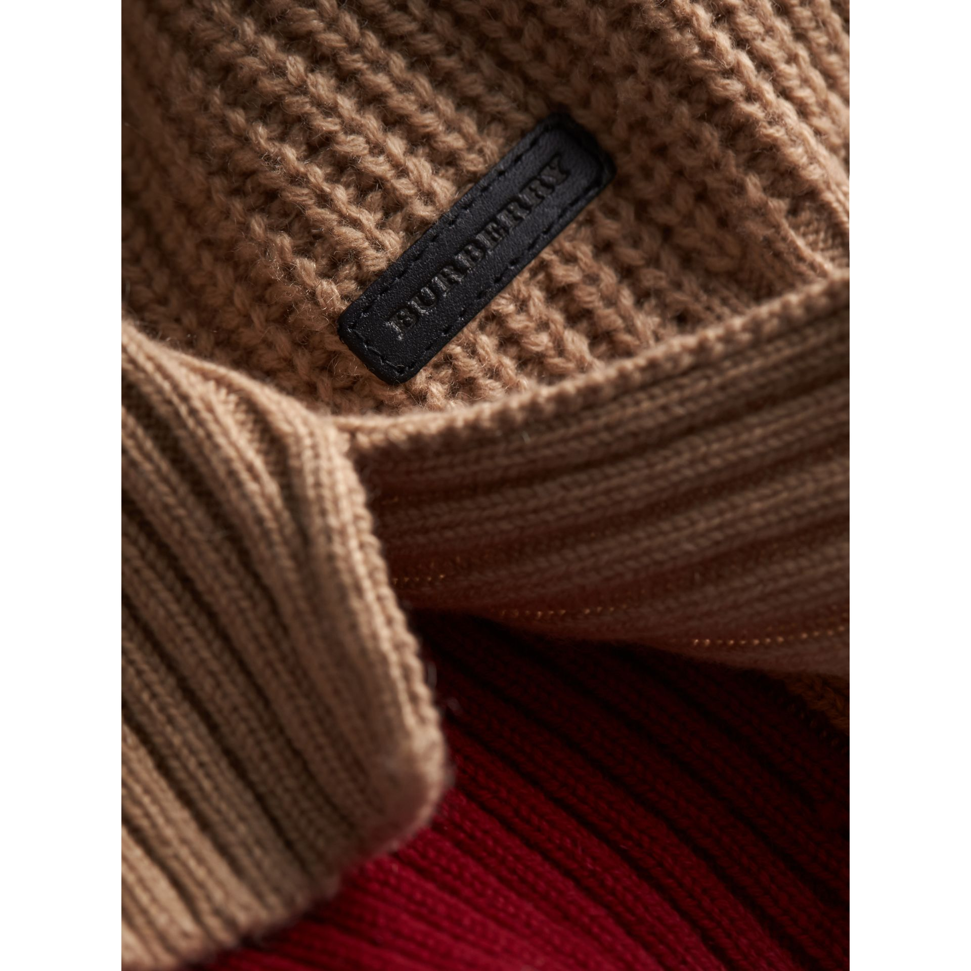 Colour Block Cable Knit Wool Cashmere Dress in Natural White - Girl | Burberry - gallery image 2