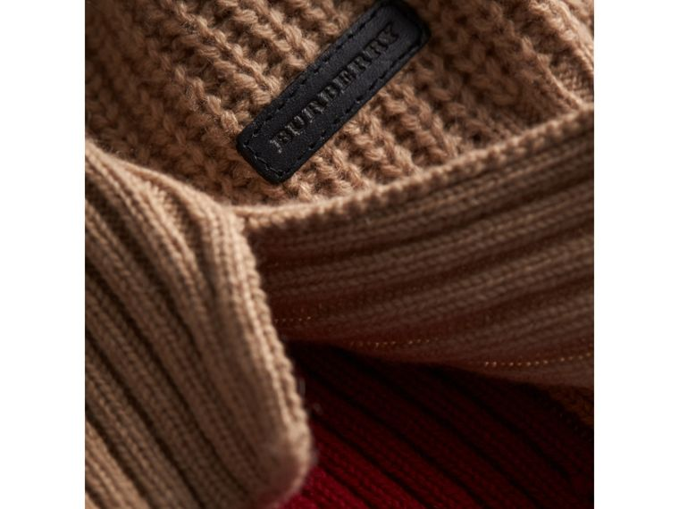 Colour Block Cable Knit Wool Cashmere Dress in Natural White - Girl | Burberry - cell image 1