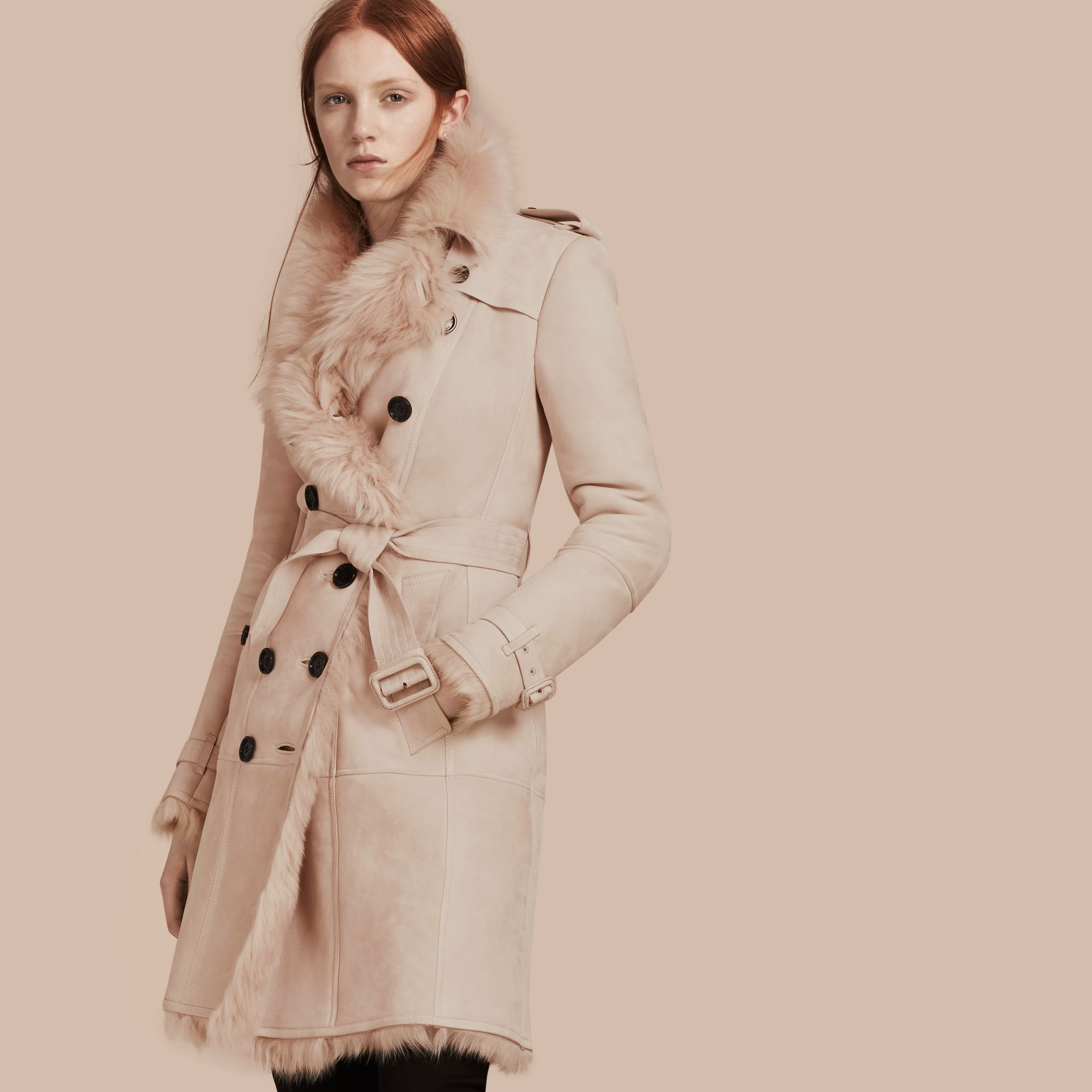 Chalk pink Shearling Trench Coat Chalk Pink - gallery image 1
