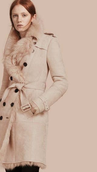 Trench-coat en shearling