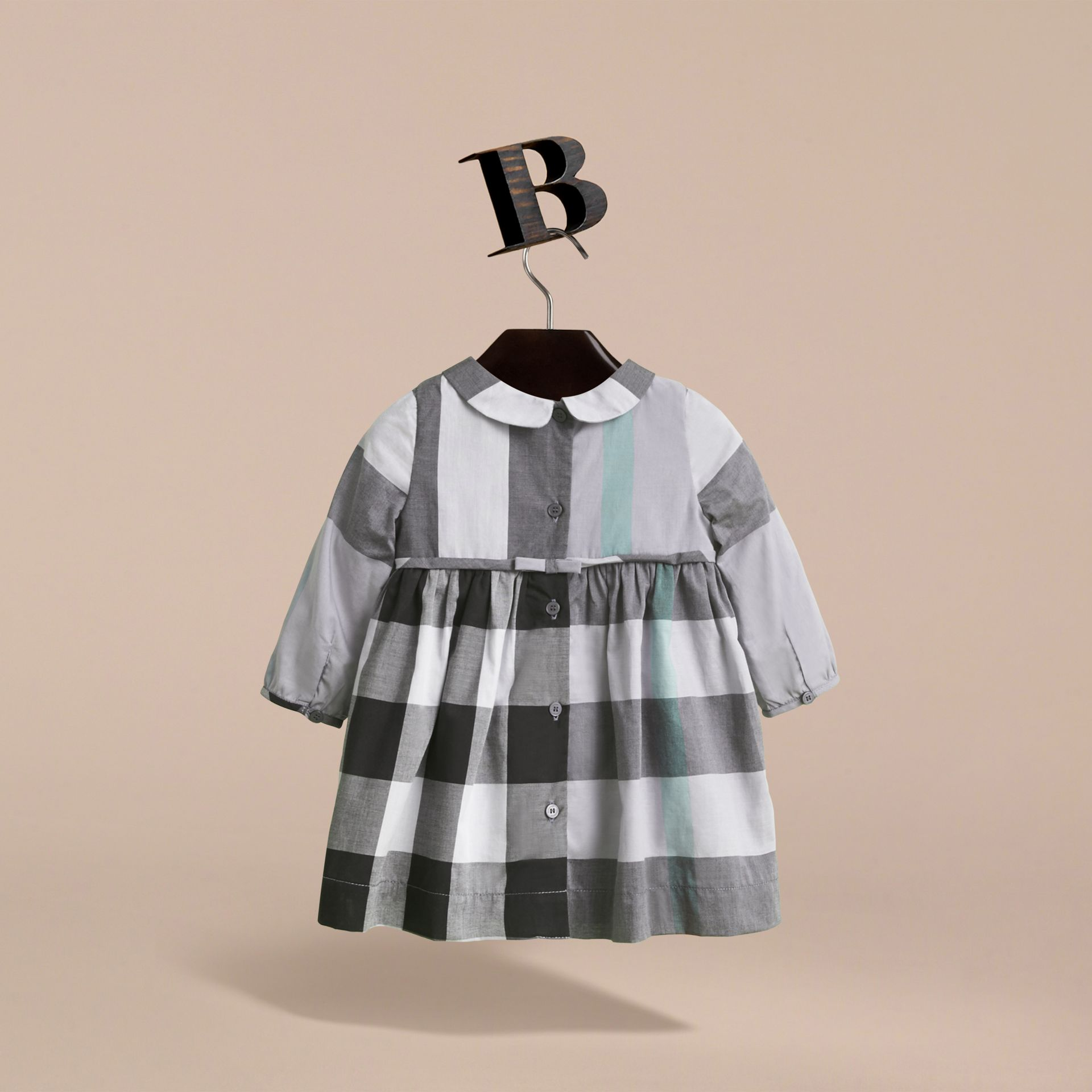 Long-sleeve Check Pintuck Bib Cotton Dress in Pale Stone Blue | Burberry - gallery image 3
