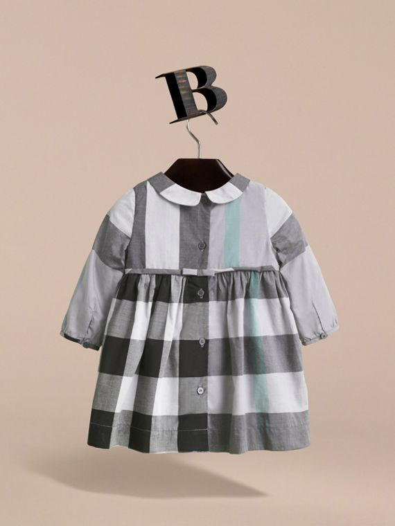 Long-sleeve Check Pintuck Bib Cotton Dress in Pale Stone Blue | Burberry - cell image 3