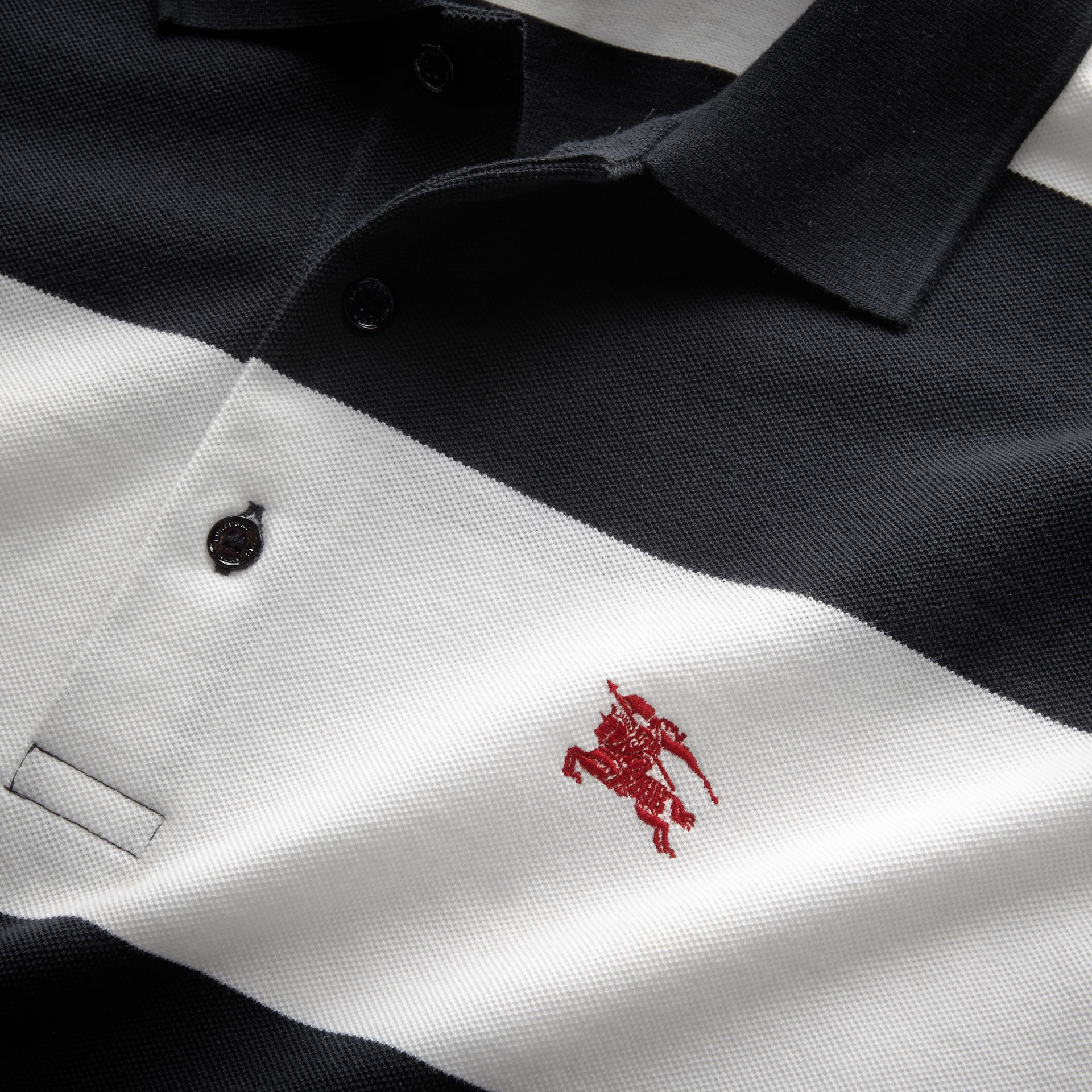 Striped Cotton Piqué Polo Shirt in White/navy - Men | Burberry - gallery image 2