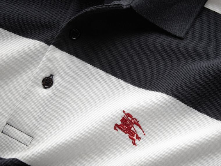 Striped Cotton Piqué Polo Shirt in White/navy - Men | Burberry - cell image 1
