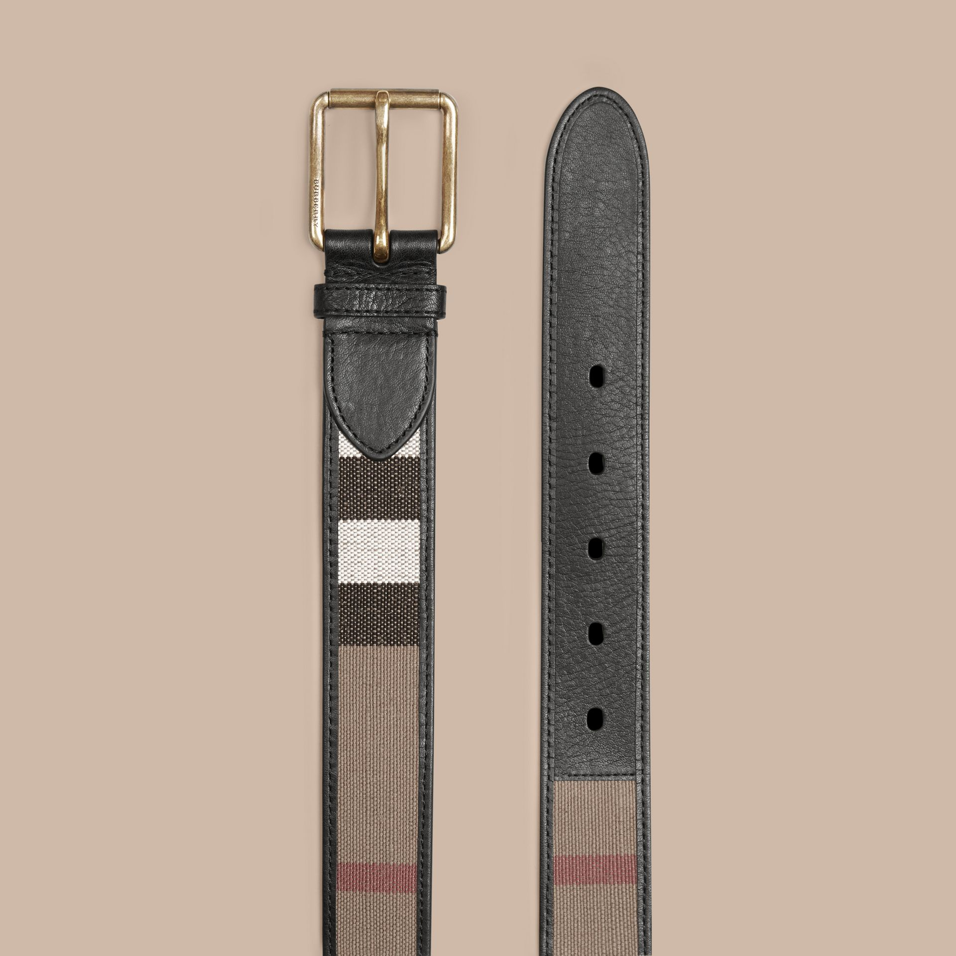 Camel Canvas Check and Leather Belt - gallery image 3