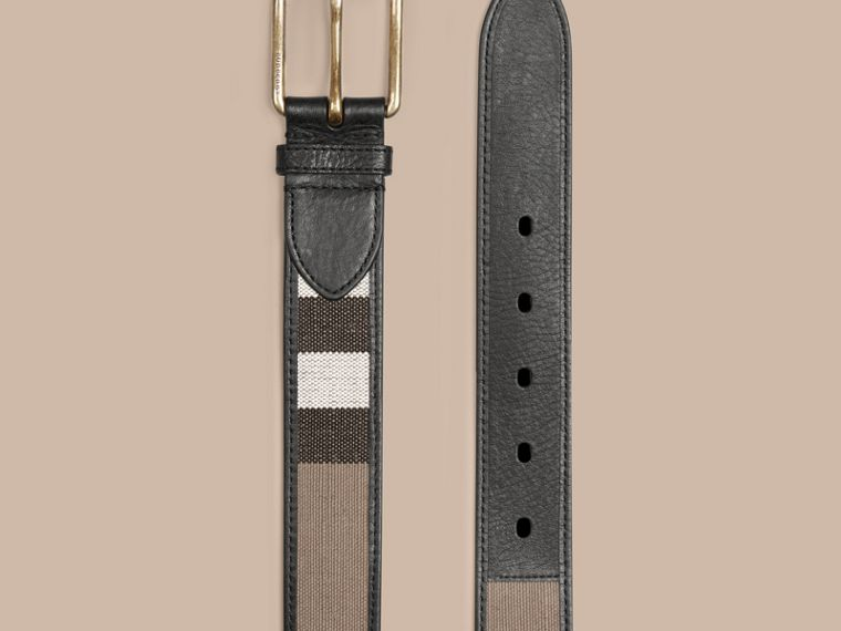 Camel Canvas Check and Leather Belt - cell image 2