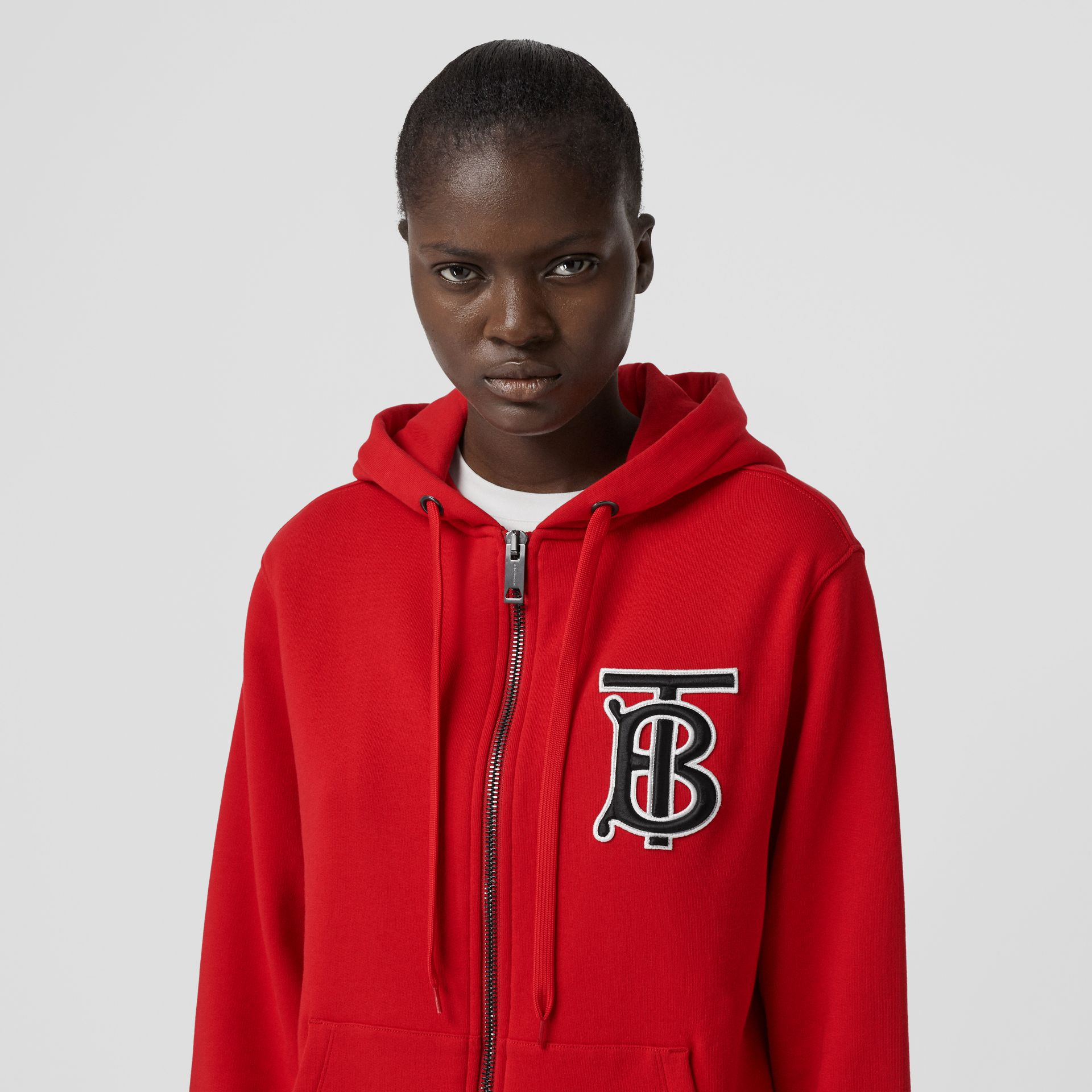Monogram Motif Cotton Oversized Hooded Top in Bright Red - Women | Burberry - gallery image 1