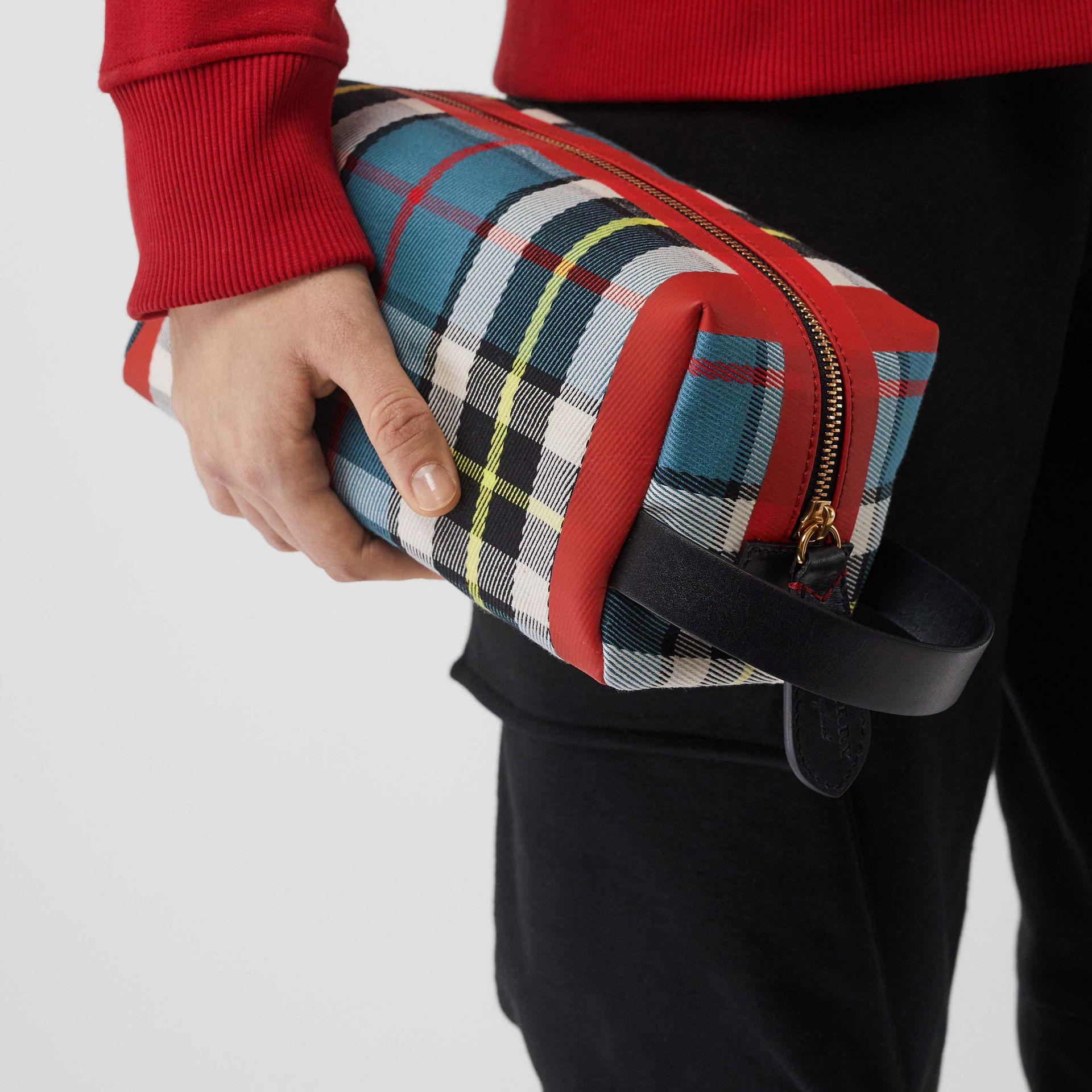 Tartan Cotton Pouch in Blue | Burberry - gallery image 2
