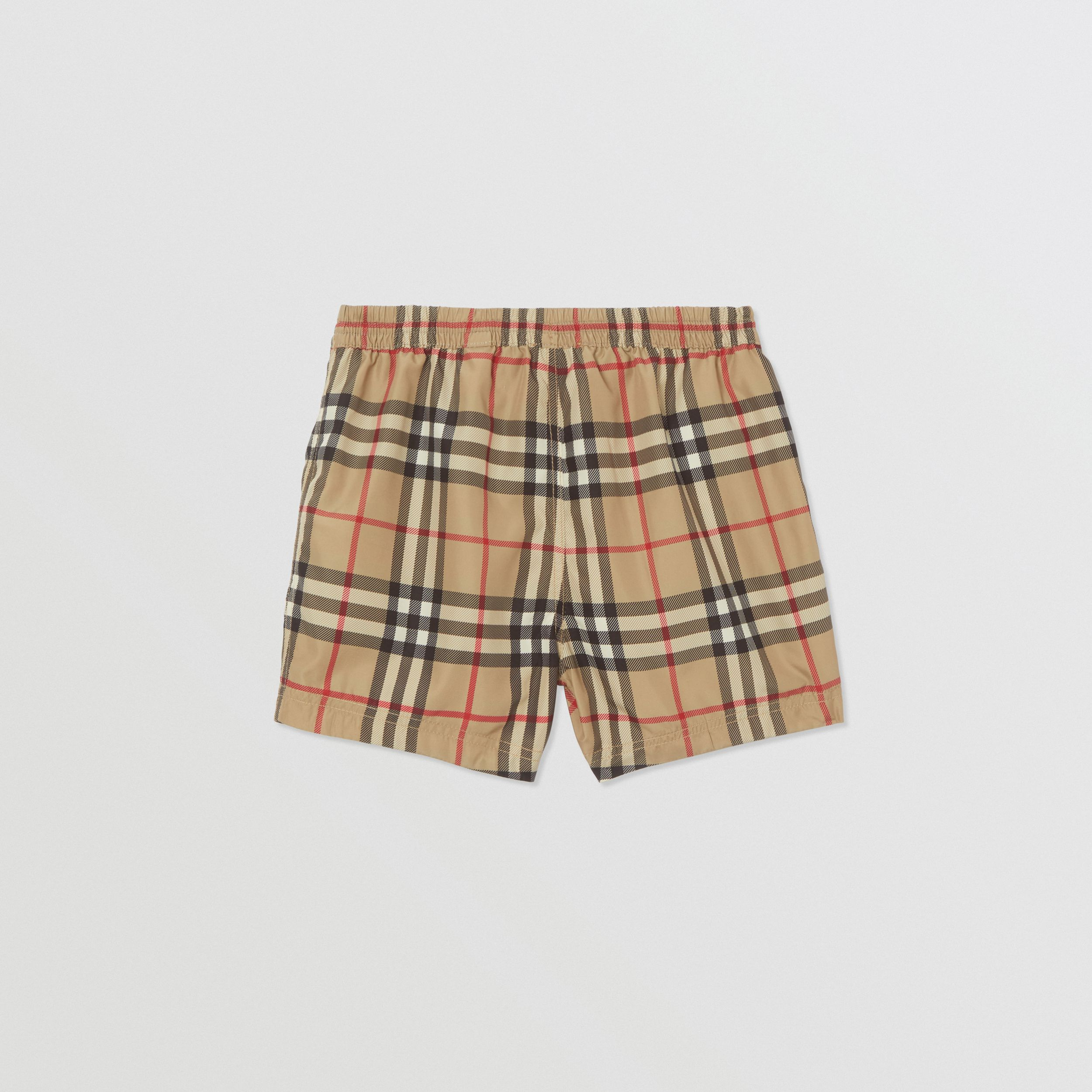 Logo Appliqué Vintage Check Swim Shorts in Archive Beige - Children | Burberry - 4