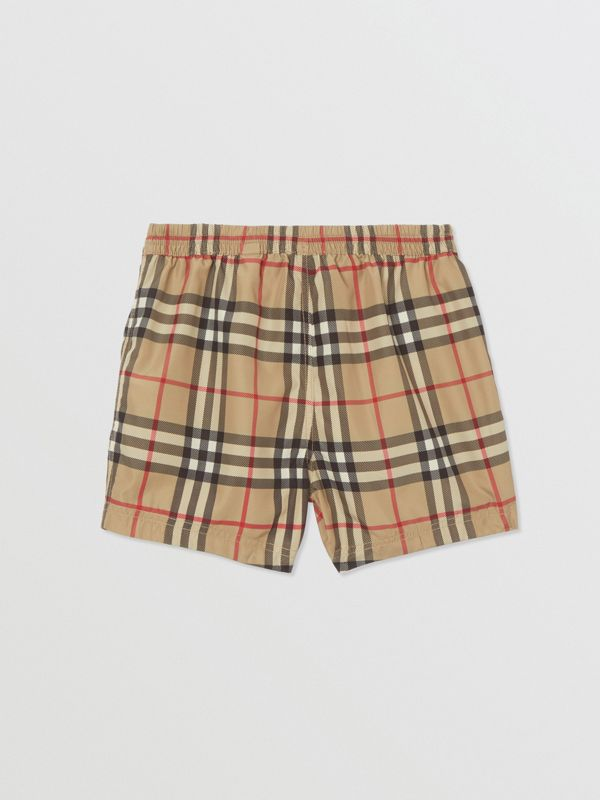 Logo Appliqué Vintage Check Swim Shorts in Archive Beige - Children | Burberry United States - cell image 3