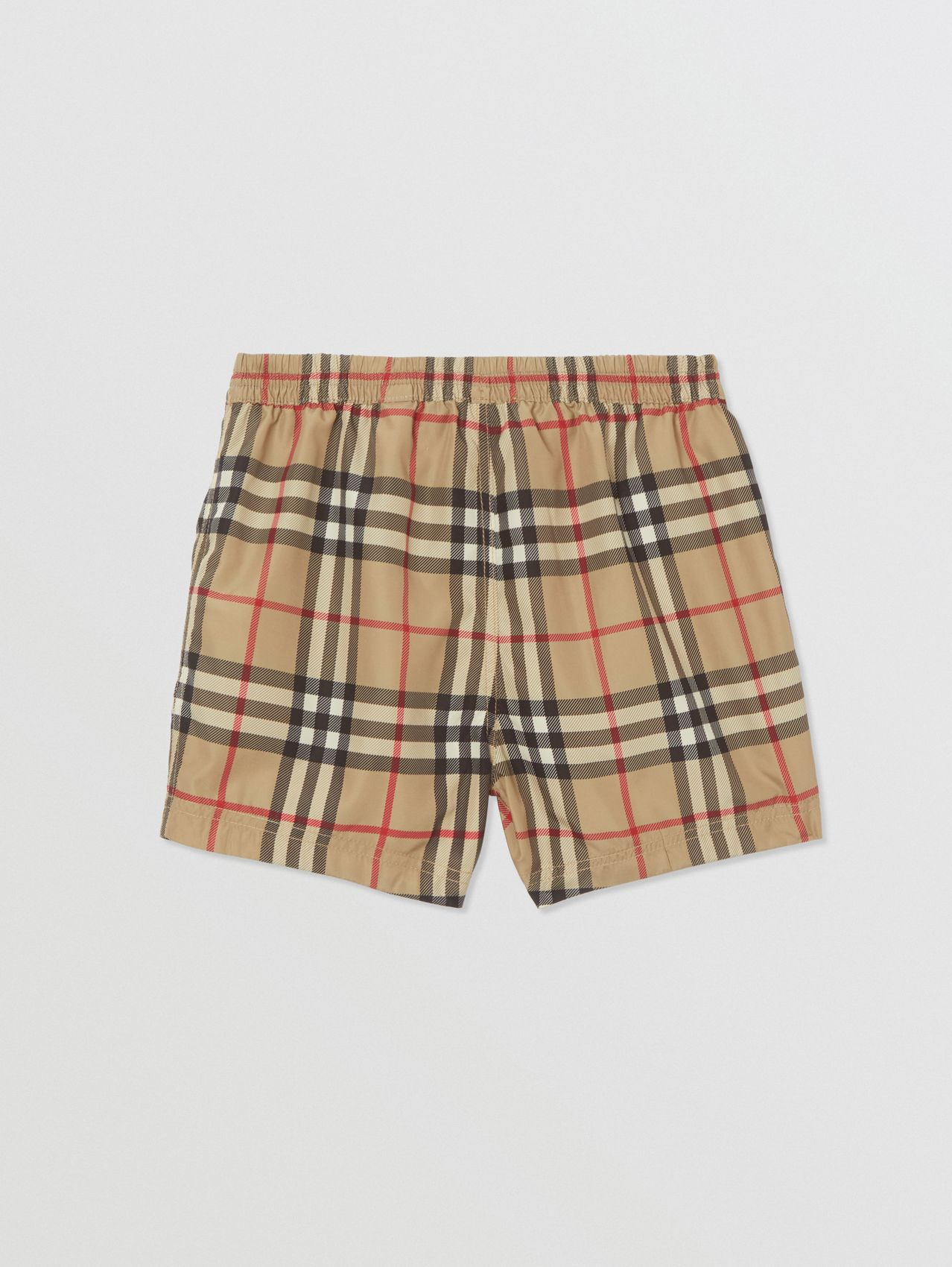 Logo Appliqué Vintage Check Swim Shorts in Archive Beige
