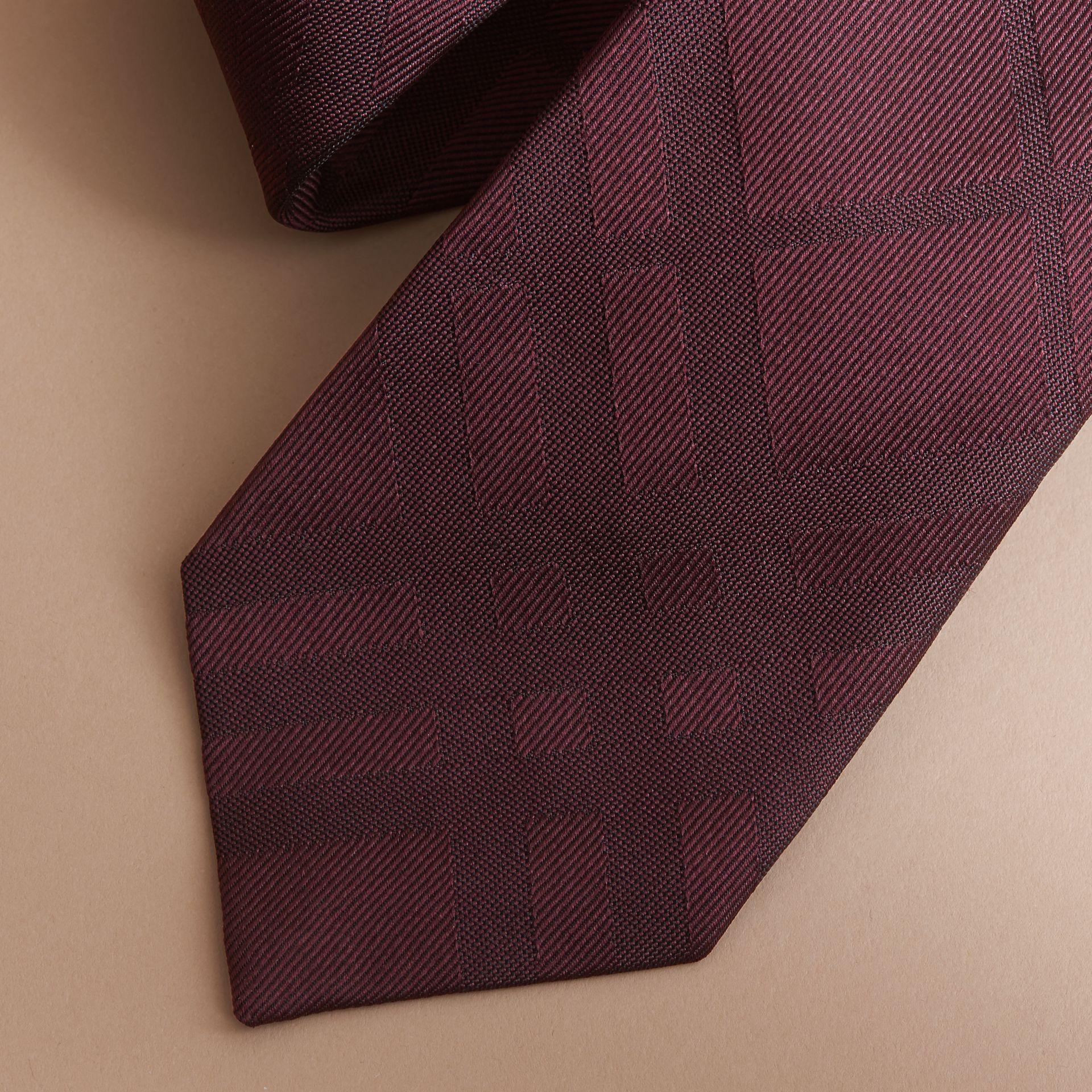 Classic Cut Check Silk Jacquard Tie in Deep Claret - Men | Burberry United Kingdom - gallery image 1