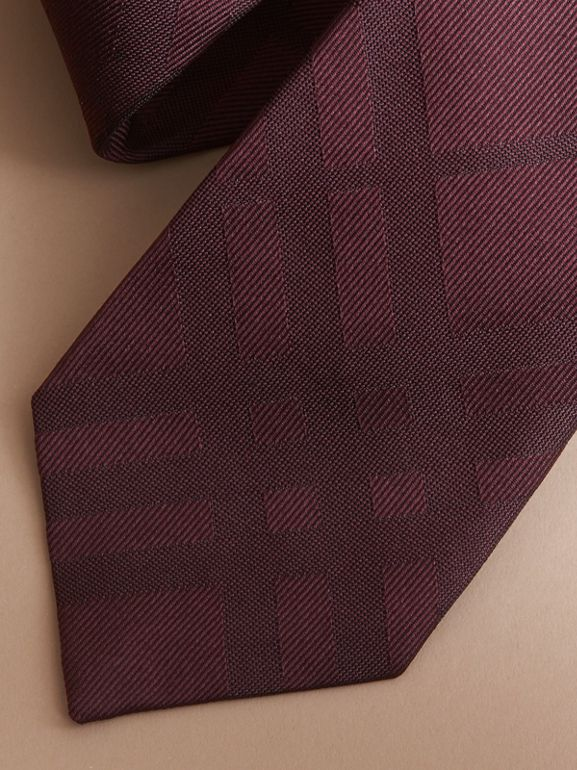 Classic Cut Check Silk Jacquard Tie in Deep Claret - Men | Burberry United Kingdom - cell image 1