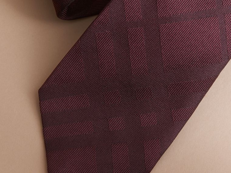 Classic Cut Check Silk Jacquard Tie in Deep Claret - Men | Burberry - cell image 1