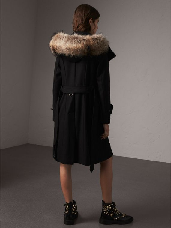Hooded Wool Blend Coat with Detachable Fur Trim in Black - Women | Burberry Singapore - cell image 2