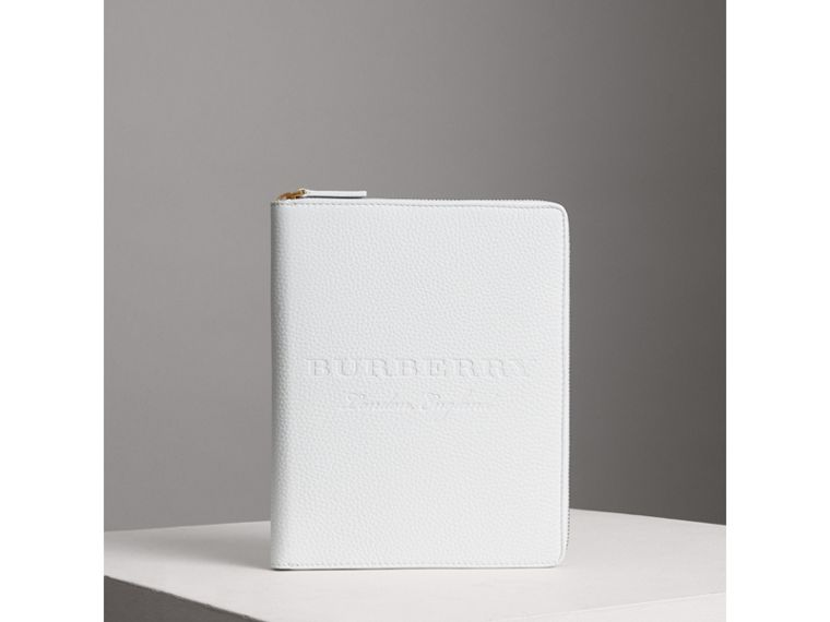 Embossed Leather Ziparound A5 Notebook Case in Chalk White | Burberry - cell image 4