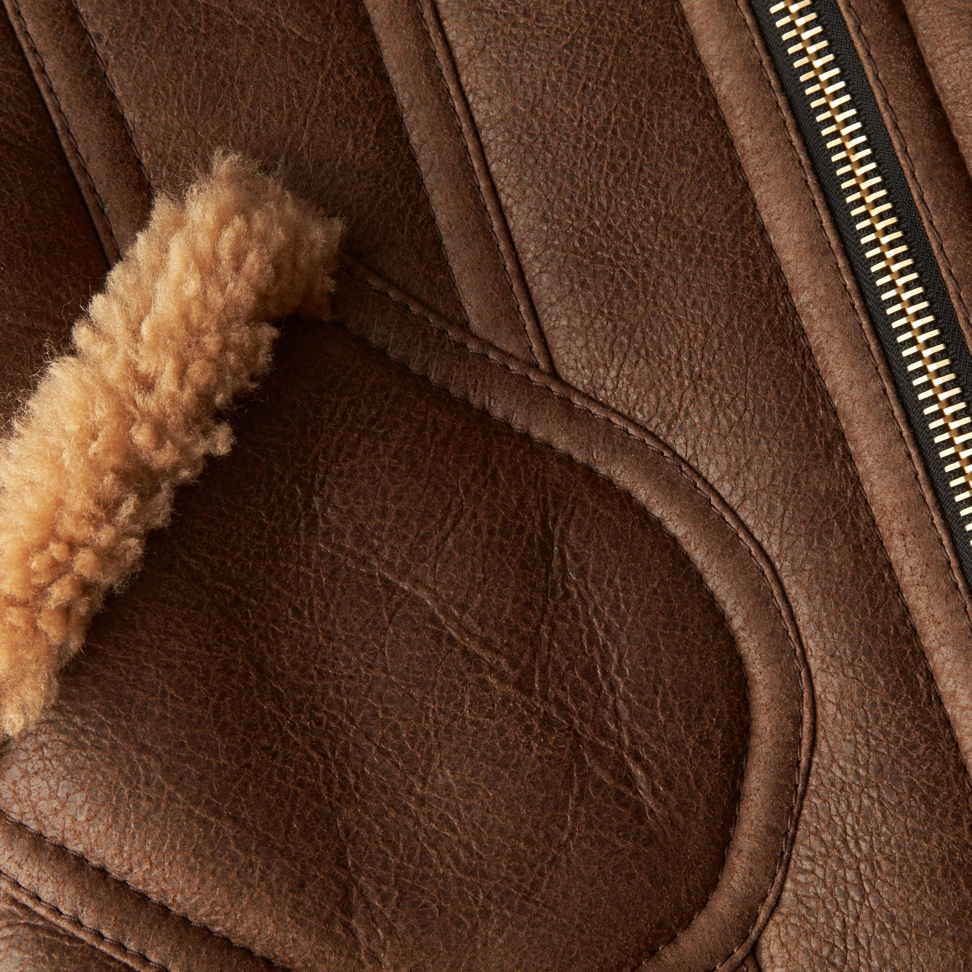 Dark tan Sculptural Shearling Flight Jacket - gallery image 2