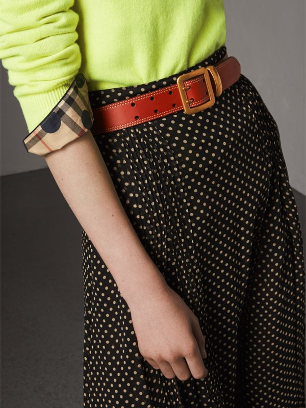 Topstitch Detail Leather Belt in Burnt Sienna - Women | Burberry - cell image 2