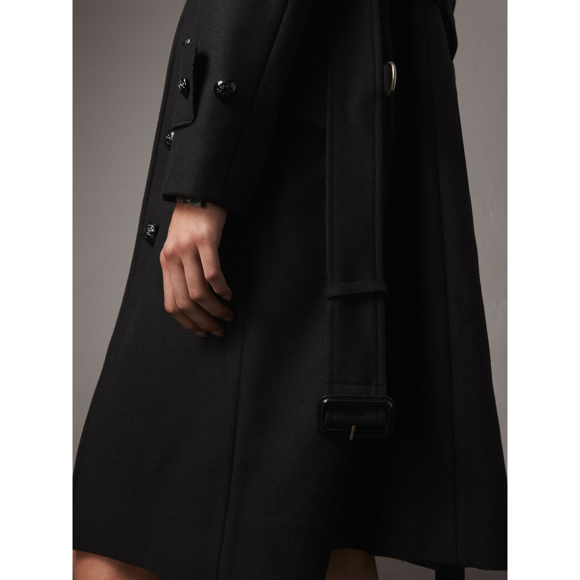 Hooded Wool Blend Coat with Detachable Fur Trim in Black - Women | Burberry - gallery image 1