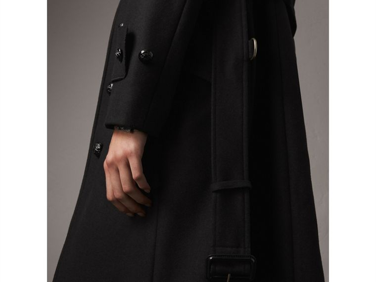 Hooded Wool Blend Coat with Detachable Fur Trim in Black - Women | Burberry - cell image 1