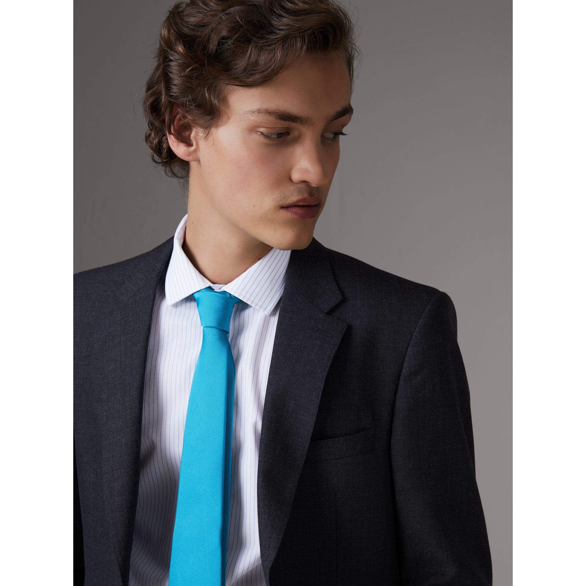 Modern Cut Silk Tie in Bright Aqua - Men | Burberry United Kingdom - gallery image 2