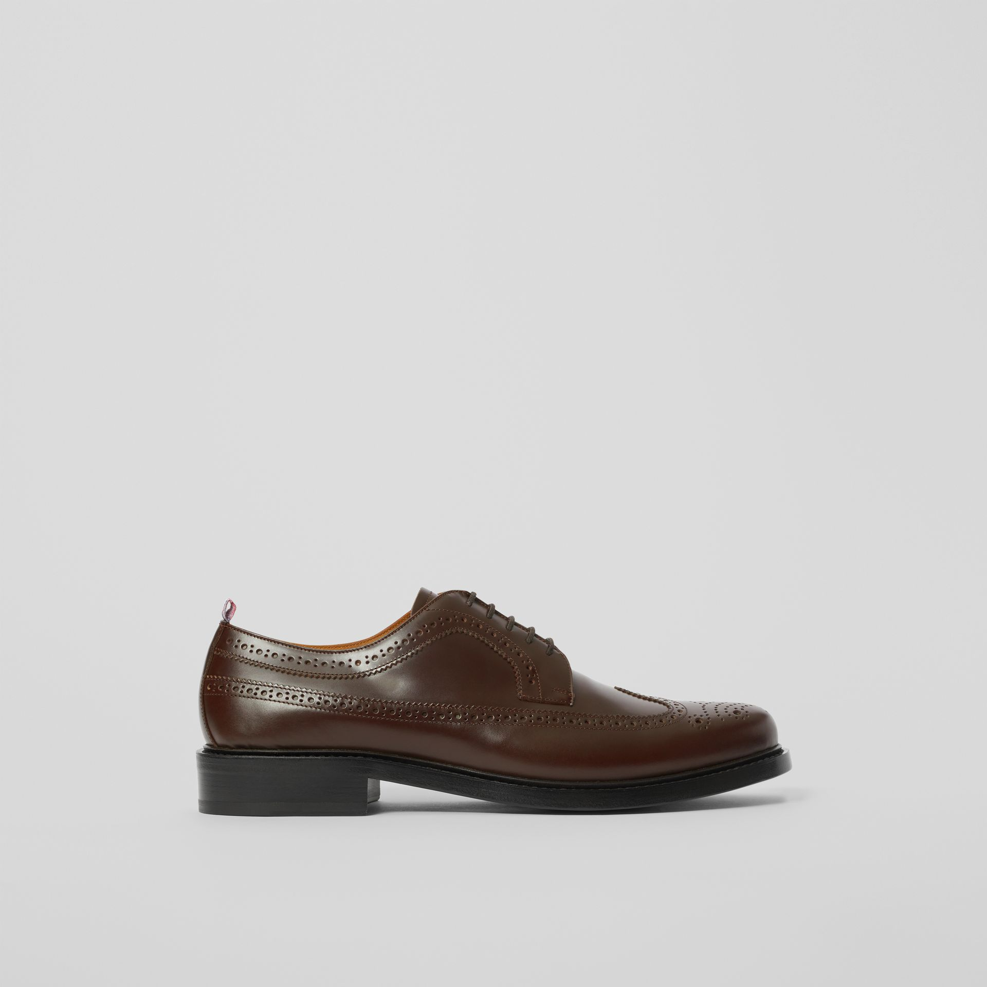 Brogue Detail Leather Derby Shoes in Tan - Men | Burberry - gallery image 4