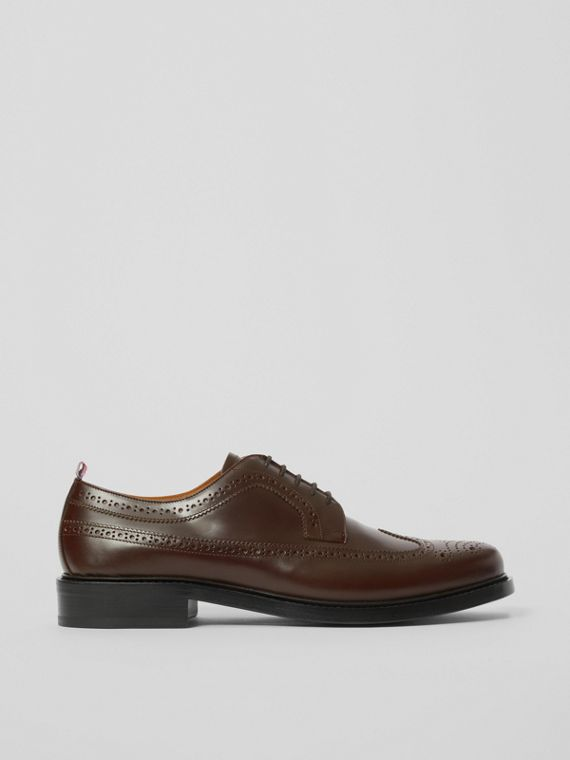 Brogue Detail Leather Derby Shoes in Tan