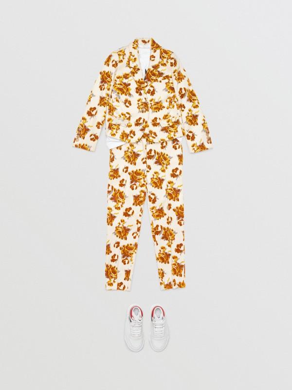 Blazer de veludo em jacquard floral (Estampa Mostarda) | Burberry - cell image 2