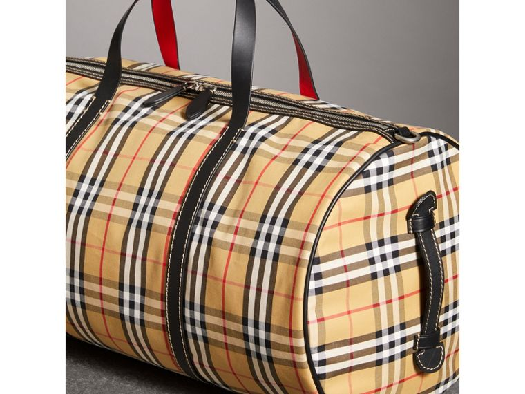 Large Vintage Check and Leather Barrel Bag in Military Red - Men | Burberry - cell image 4