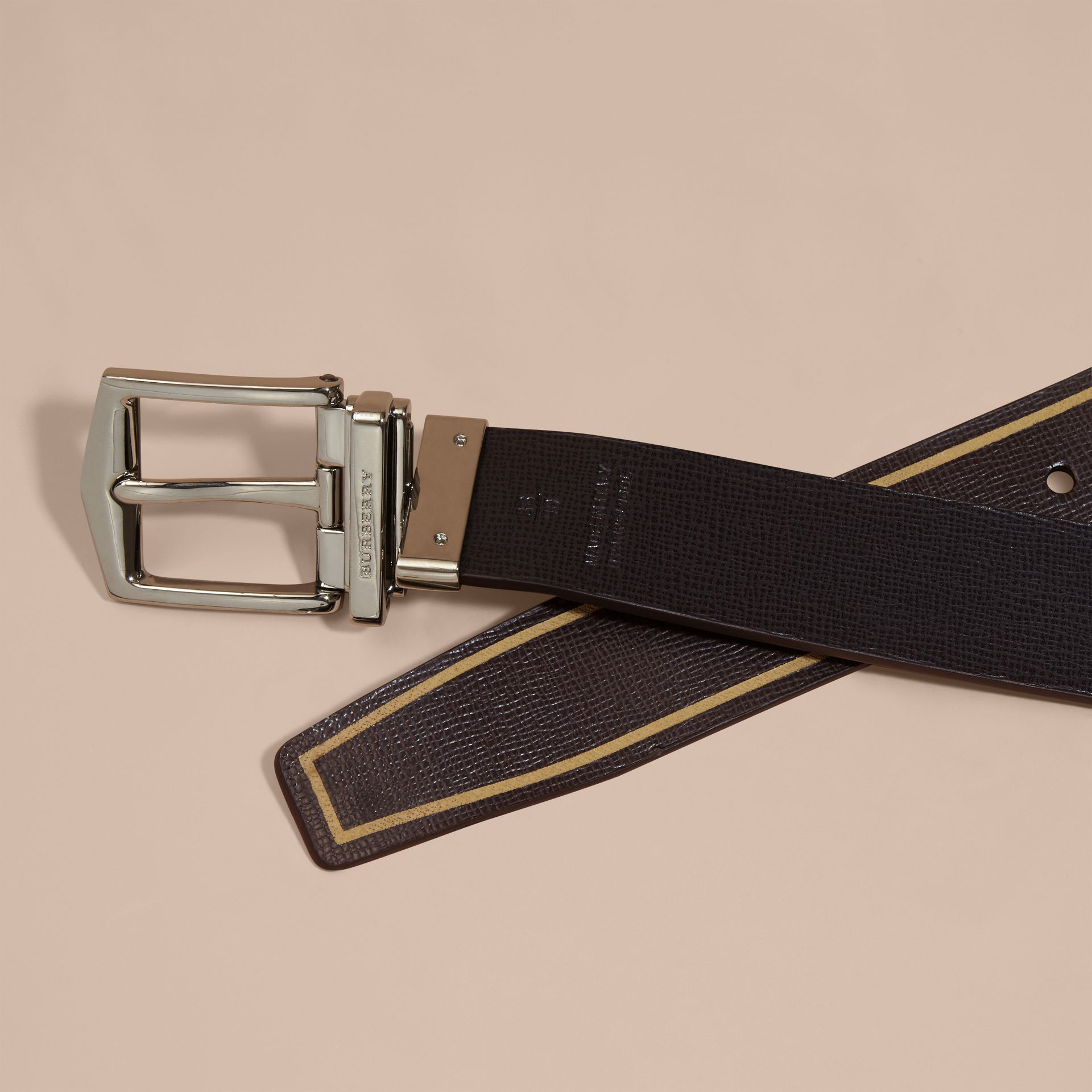 Reversible Border Detail London Leather Belt Peppercorn/black - gallery image 4
