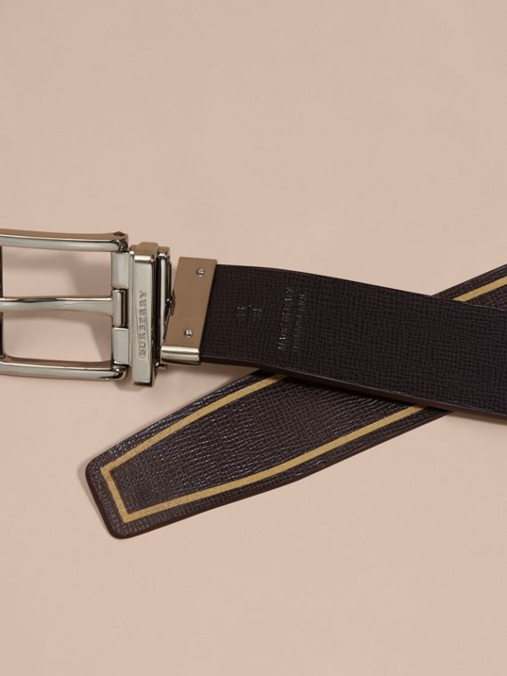 Reversible Border Detail London Leather Belt Peppercorn/black - cell image 3