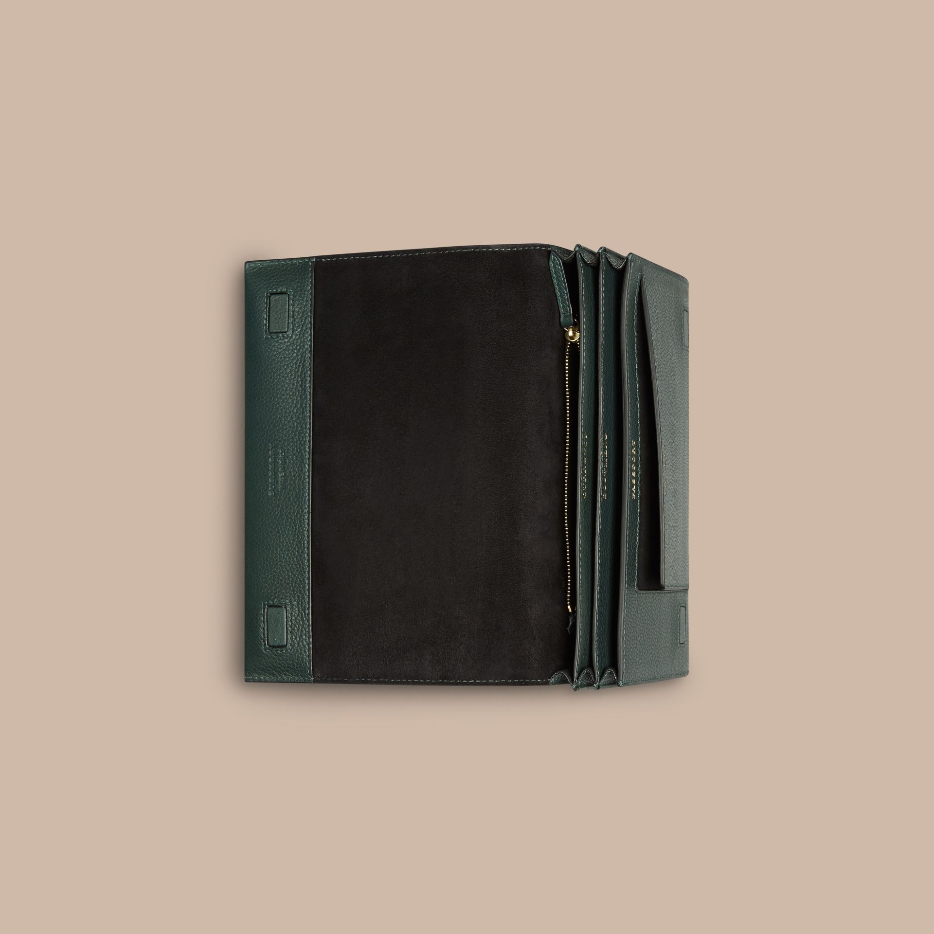 Grainy Leather Travel Wallet in Dark Forest Green - Men | Burberry - gallery image 3