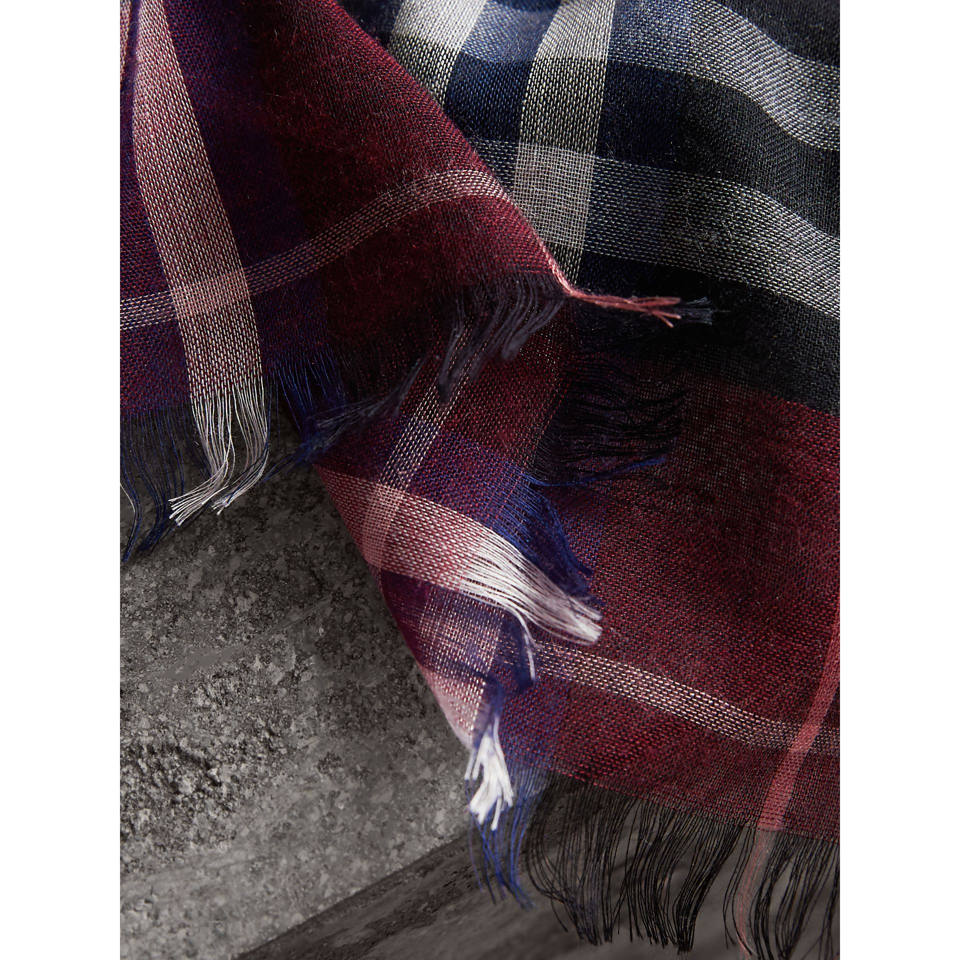 Check Modal and Wool Square Scarf in Claret | Burberry United Kingdom - gallery image 1