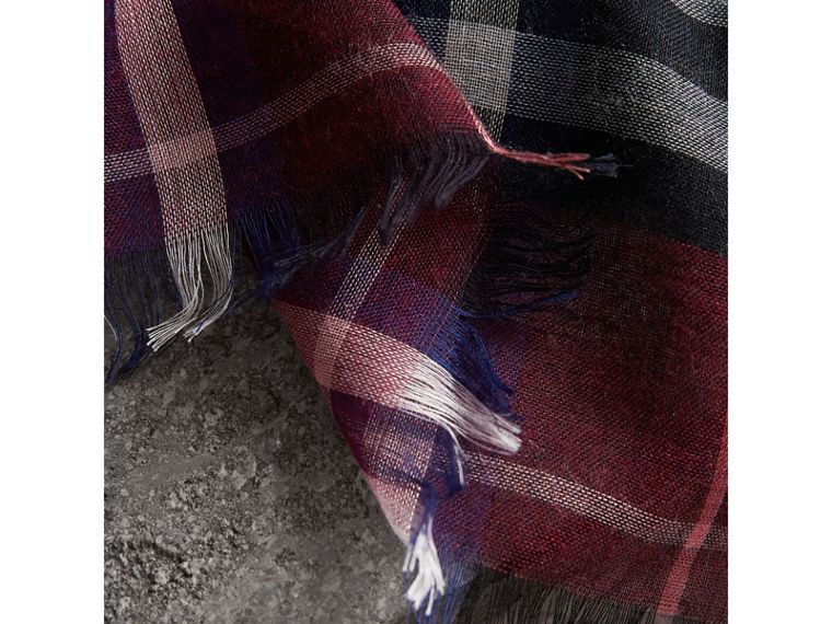 Check Modal and Wool Square Scarf in Claret | Burberry United Kingdom - cell image 1