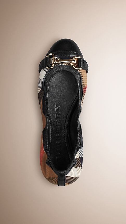 Black Buckle Detail House Check Ballerinas - Image 1
