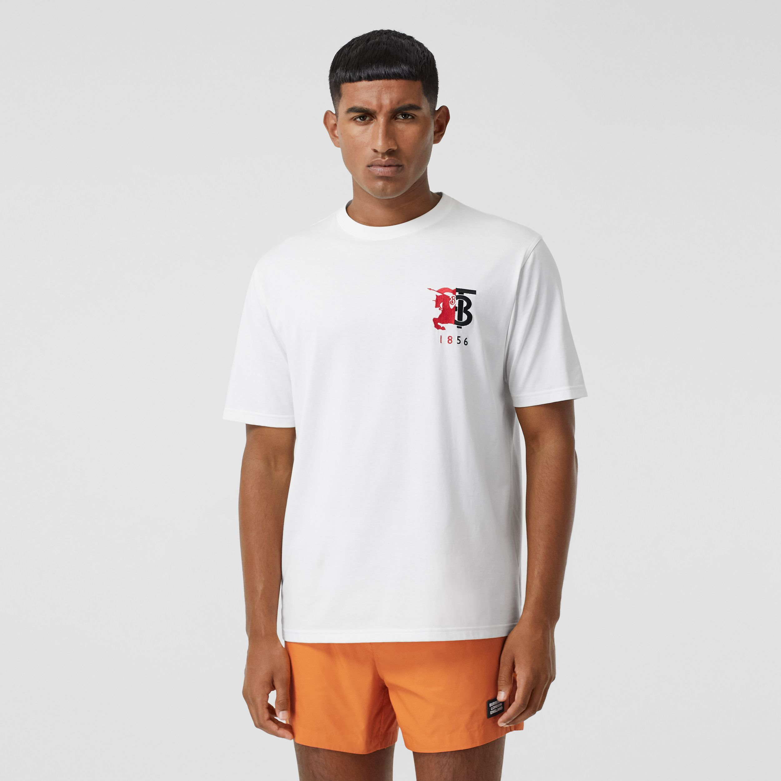 Contrast Logo Graphic Cotton T-shirt in White - Men | Burberry - 1