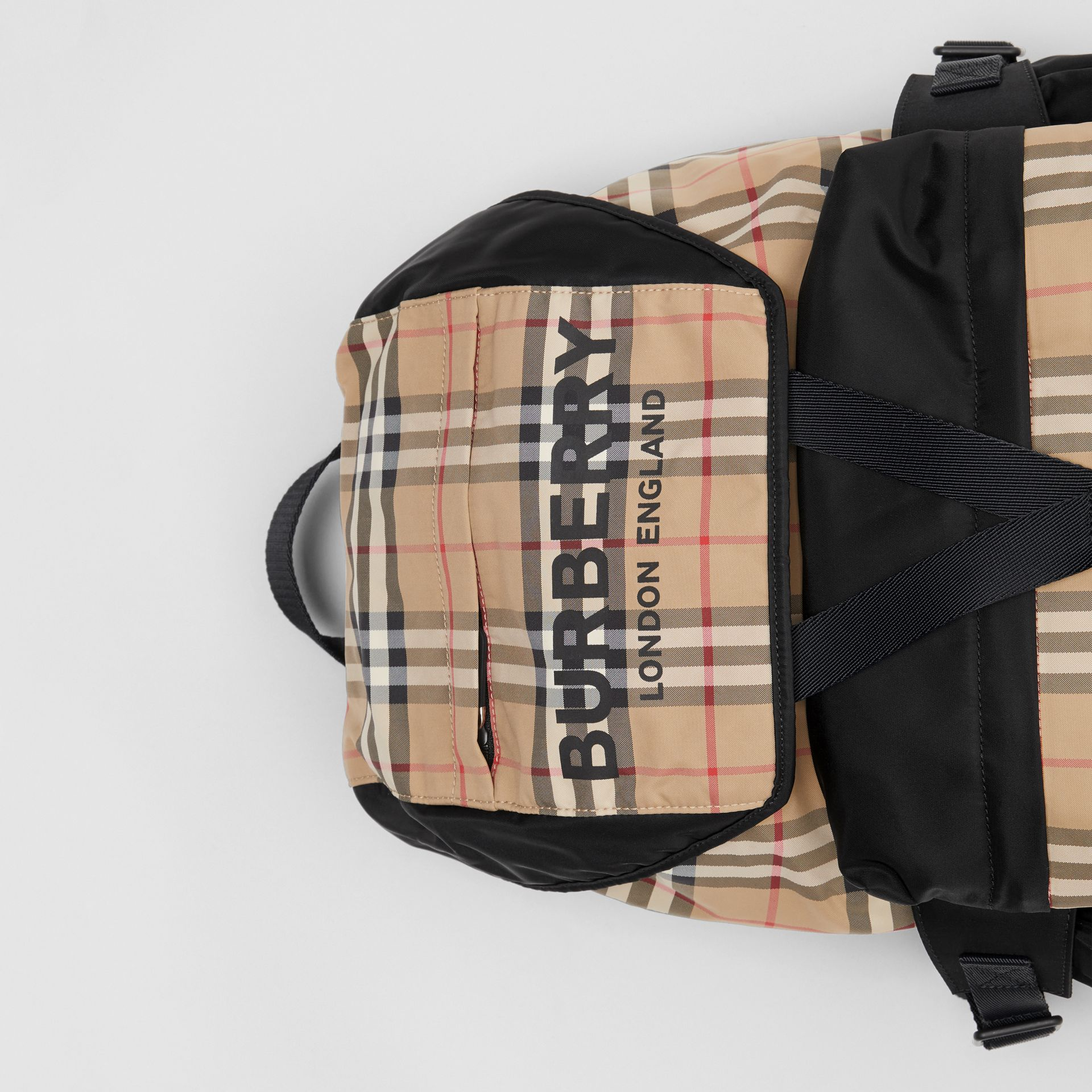 Logo Print Vintage Check Backpack in Archive Beige - Women | Burberry Singapore - gallery image 1