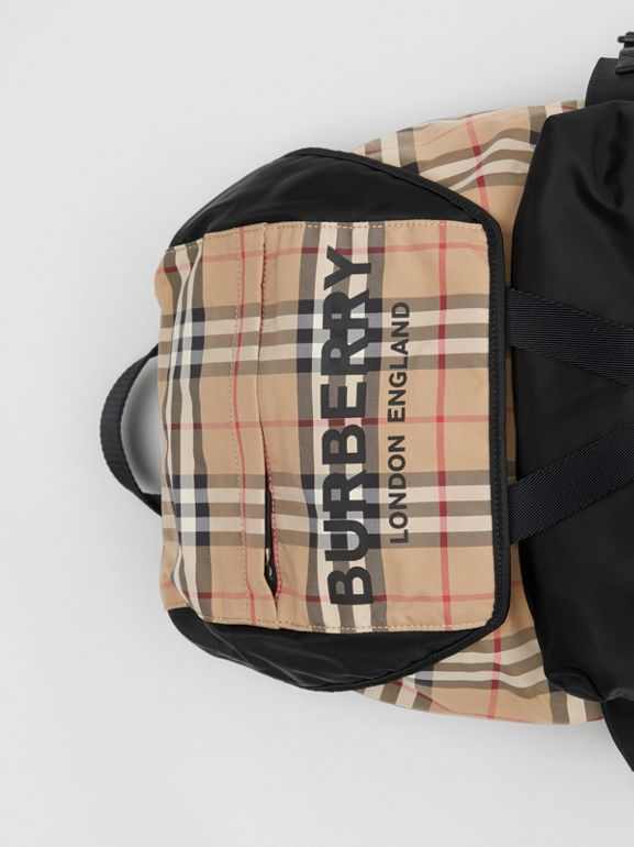 Logo Print Vintage Check Backpack in Archive Beige - Women | Burberry United Kingdom - cell image 1