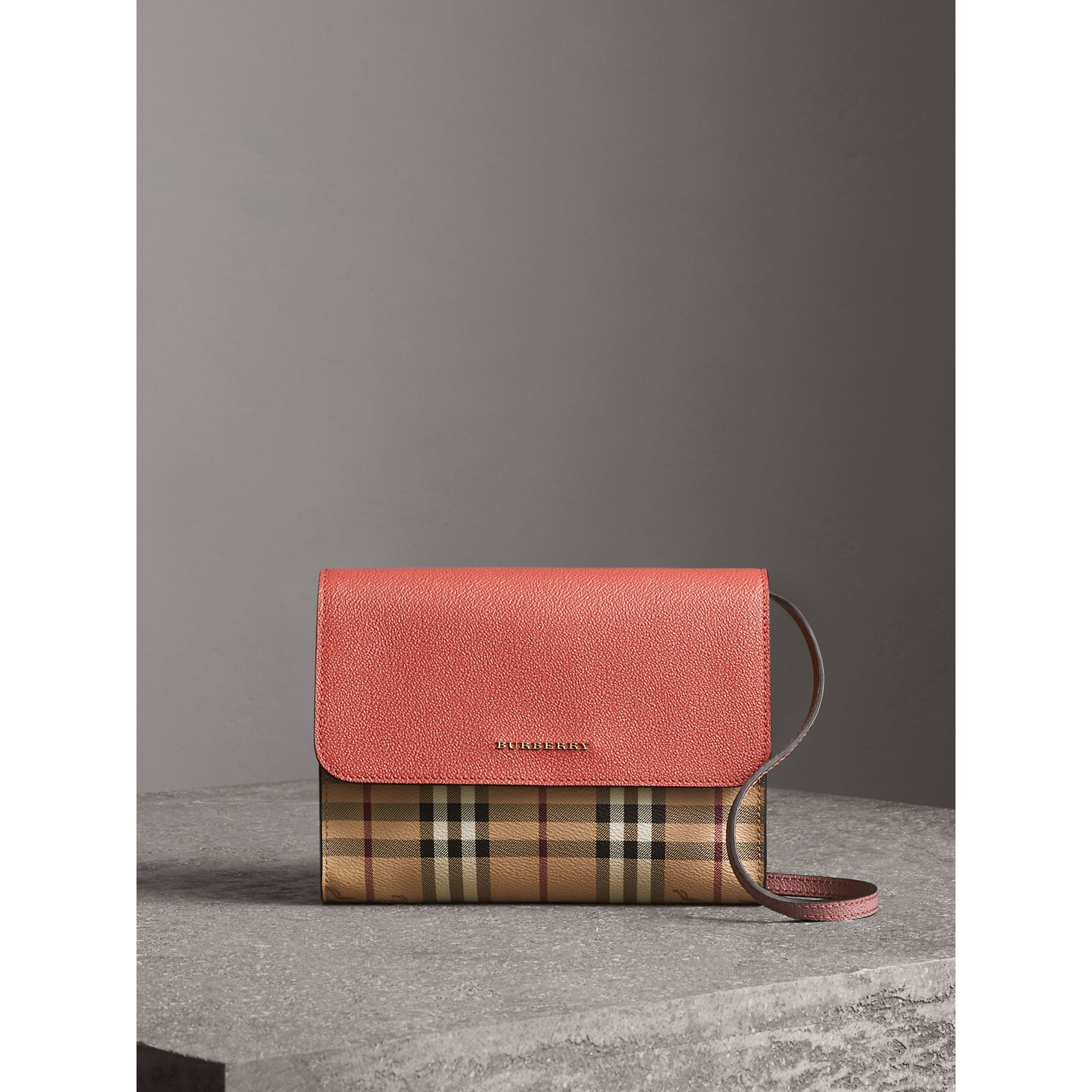 Haymarket Check and Leather Crossbody Bag in Cinnamon Red/multi - Women | Burberry - gallery image 7