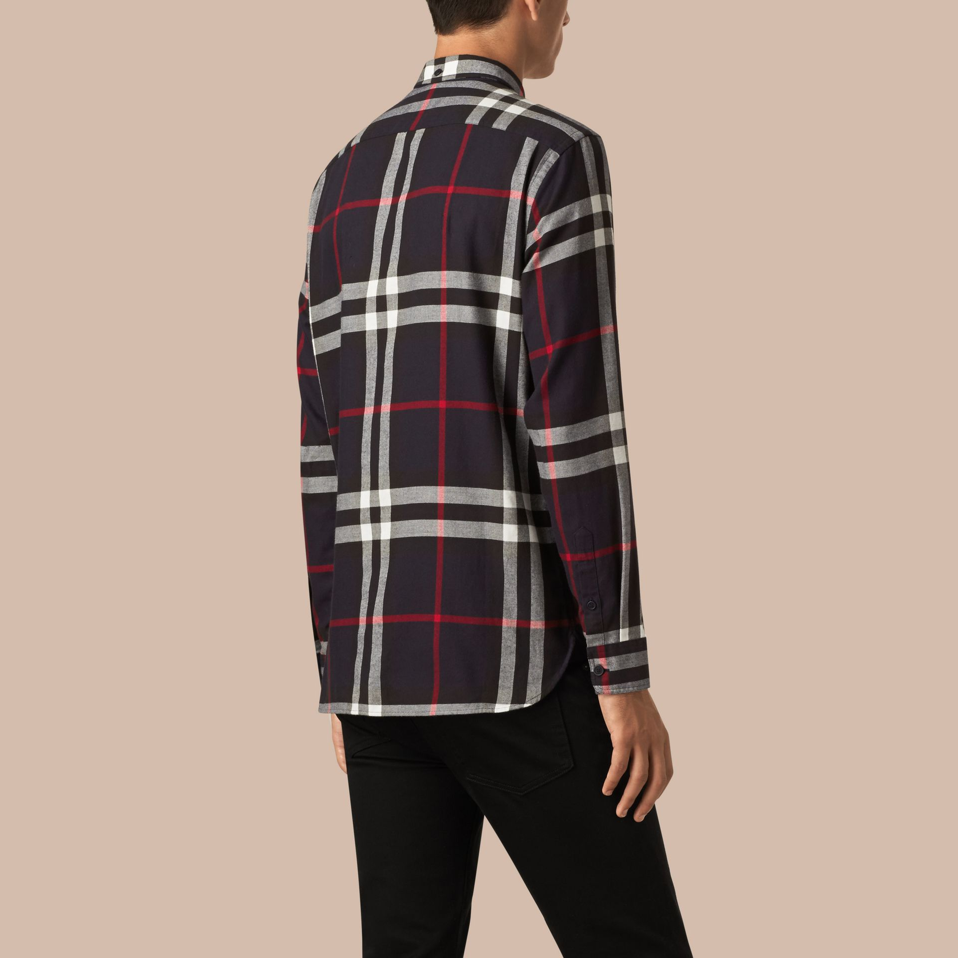 Navy Check Cotton Flannel Shirt Navy - gallery image 3