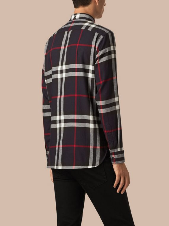 Navy Check Cotton Flannel Shirt Navy - cell image 2