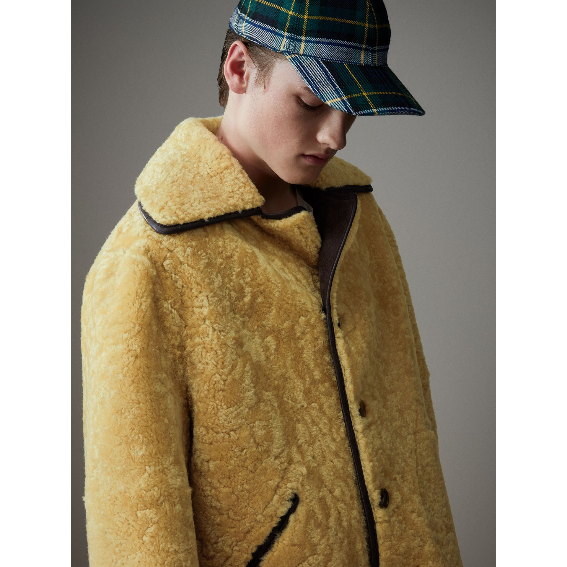 Relaxed Fit Shearling and Lambskin Jacket in Chocolate/light Citrus - Men | Burberry Australia - gallery image 7