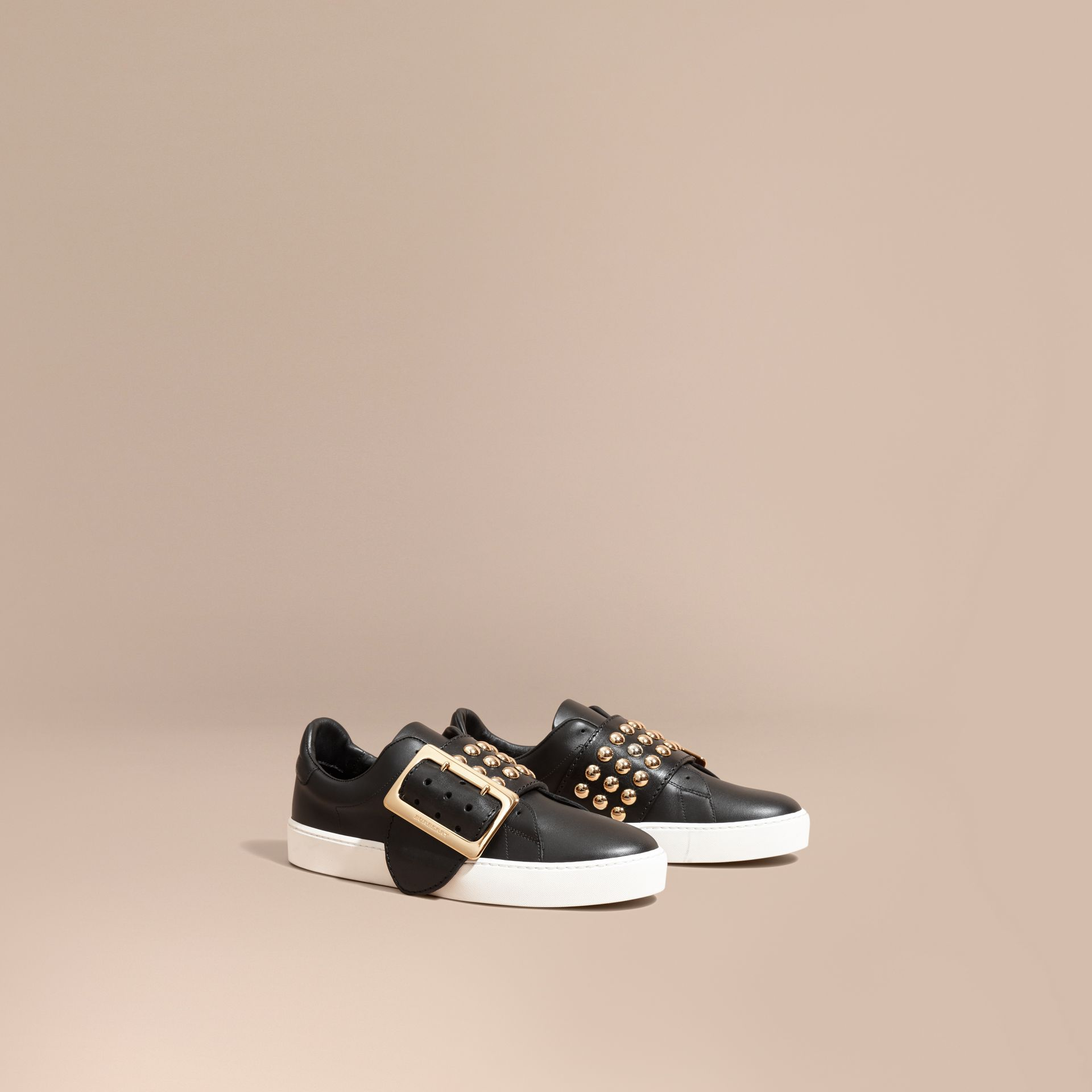 Black Oversize Buckle and Stud Detail Leather Trainers - gallery image 1