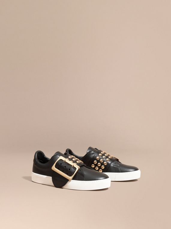 Oversize Buckle and Stud Detail Leather Trainers