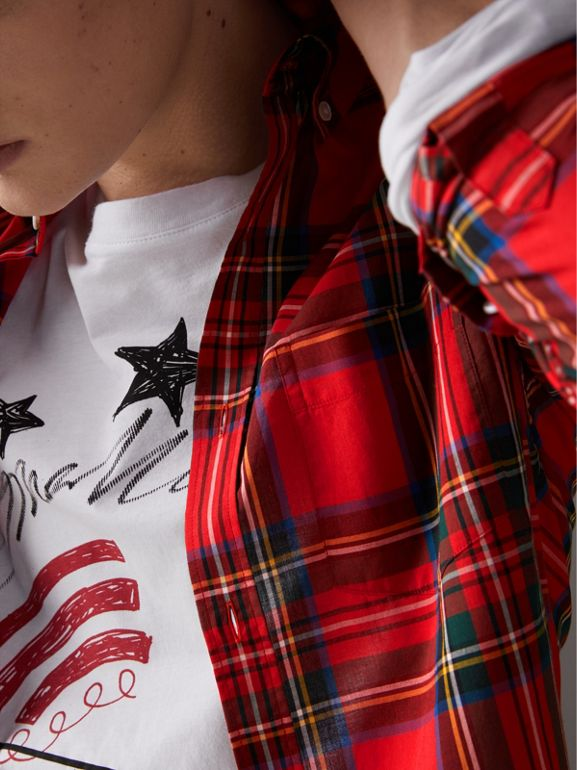 Tartan Cotton Button-down Collar Shirt in Bright Red - Men | Burberry United Kingdom - cell image 1