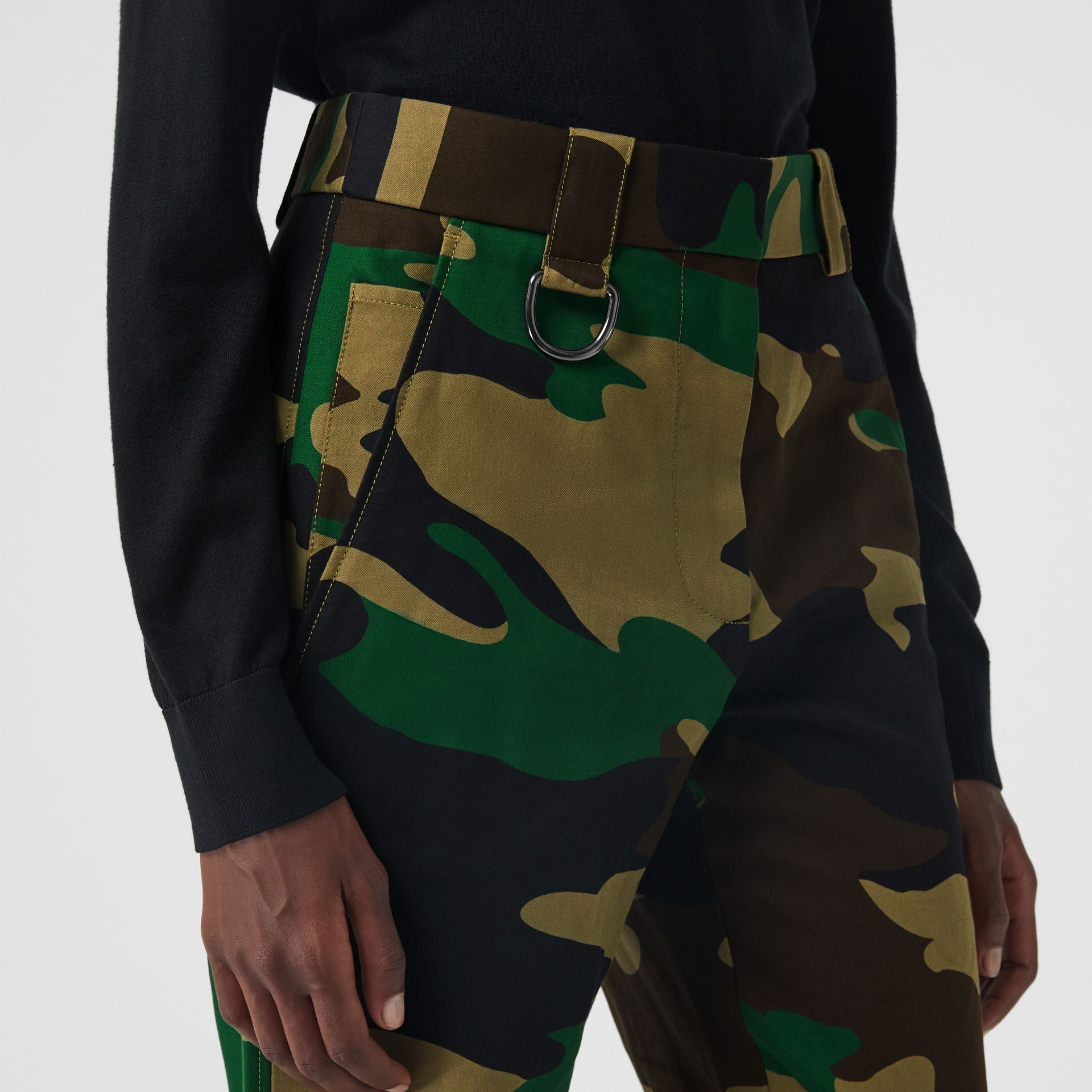 Camouflage Print Ramie Cotton Cargo Trousers in Forest Green - Women | Burberry Singapore - gallery image 1