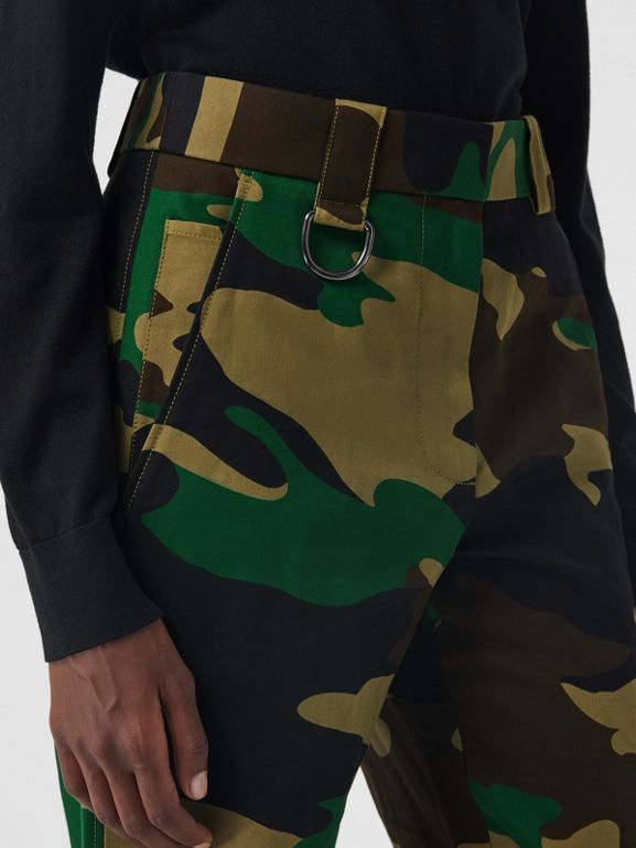 Camouflage Print Ramie Cotton Cargo Trousers in Forest Green - Women | Burberry Singapore - cell image 1