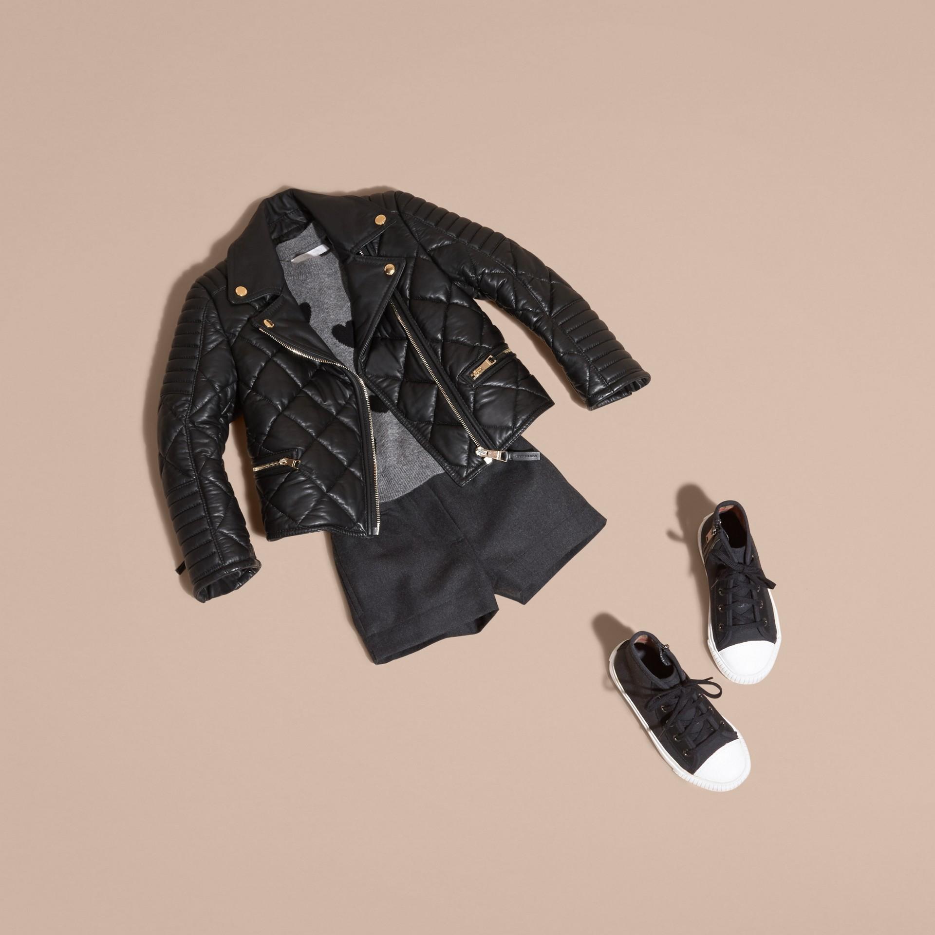 Black Quilted Lambskin Biker Jacket - gallery image 5