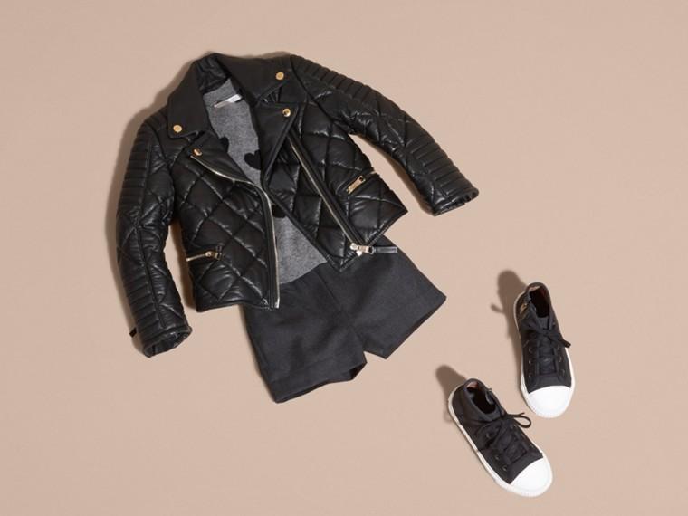Черный Стеганая байкерская куртка из кожи ягненка - cell image 4