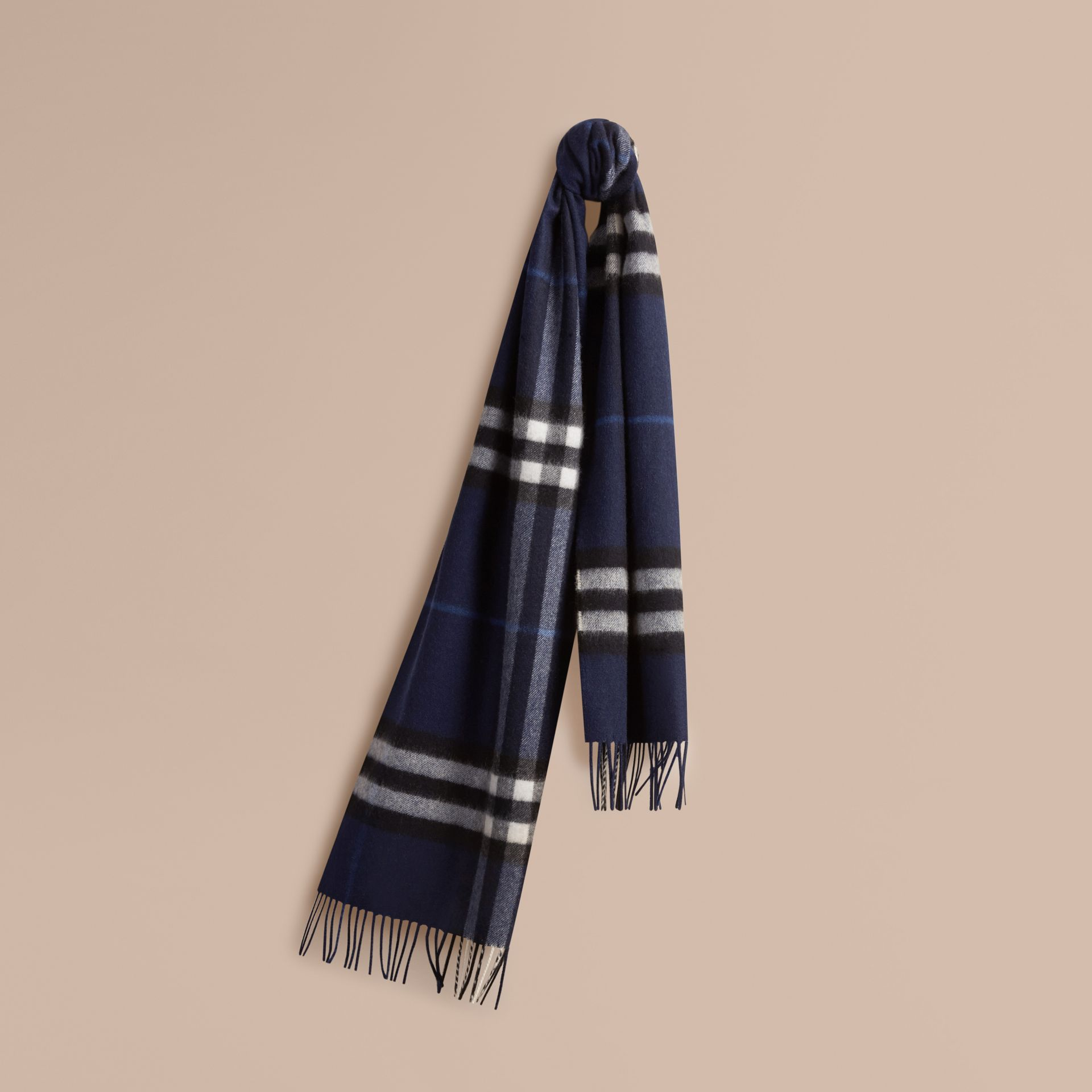 The Classic Cashmere Scarf in Check Indigo Blue - gallery image 6